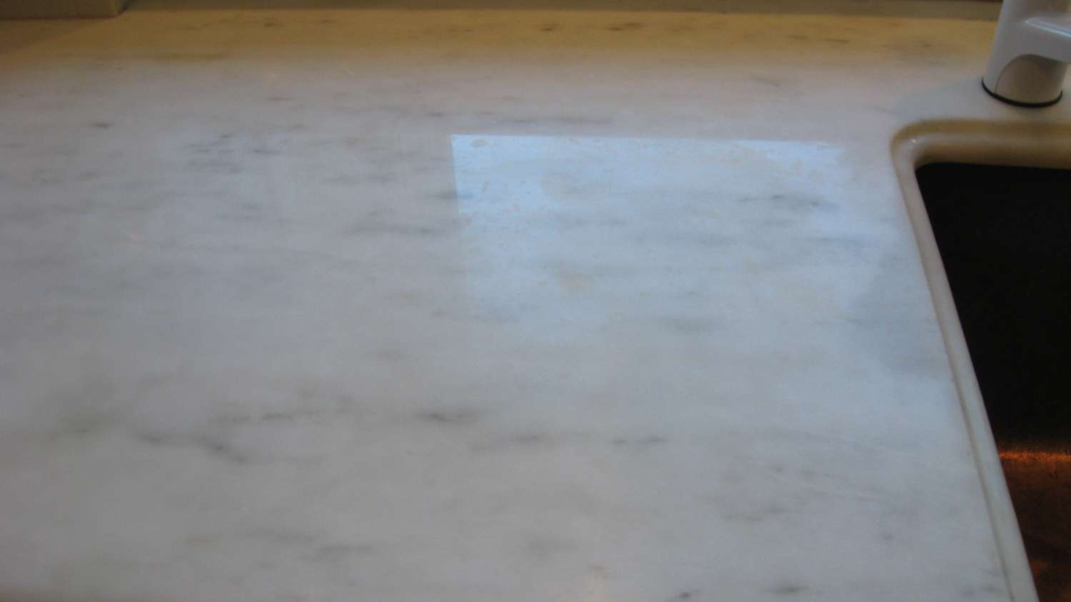 White Marble Countertop Damage Repolishing Ma