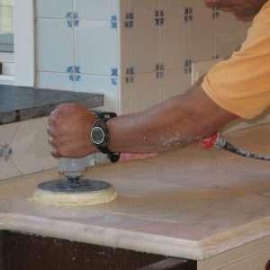 white marble kitchen contertop polishing
